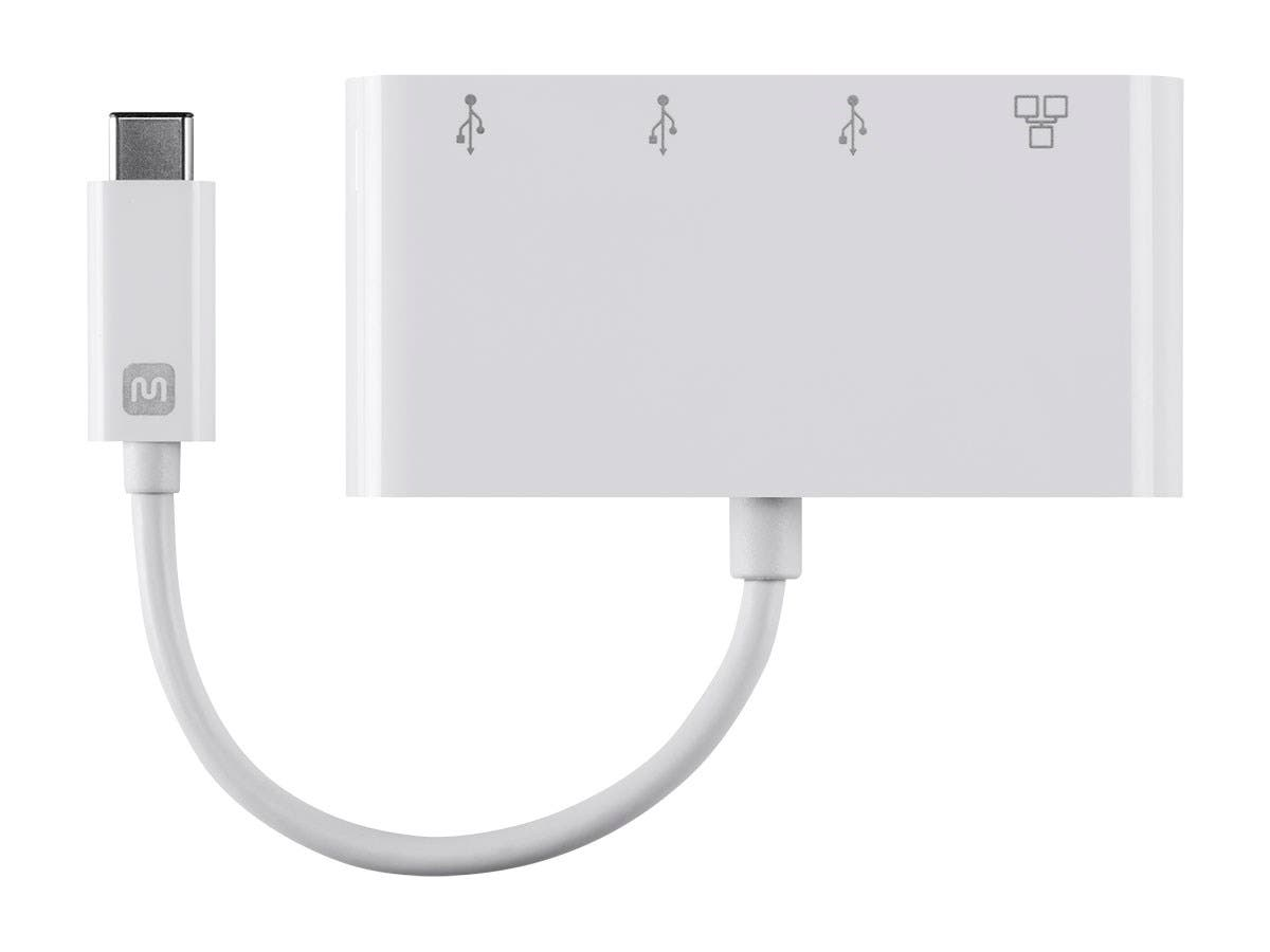 USB-C 3-Port USB Hub - White With Wired Gigabit Ethernet Port,  USB 3.0 Speeds - Select Series by Monoprice