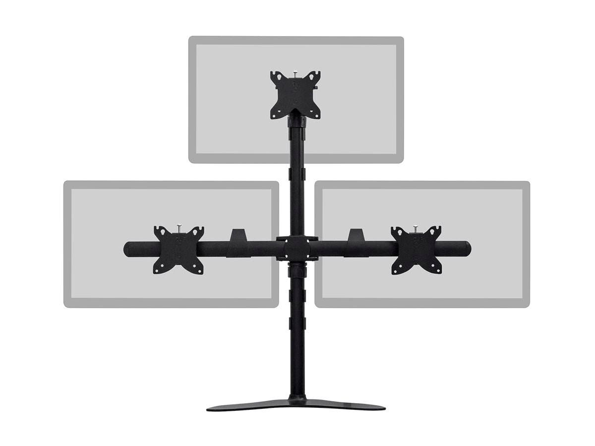 Triple Monitor Pyramid Free Standing Desk Mount for 15~30in Monitors by Monoprice