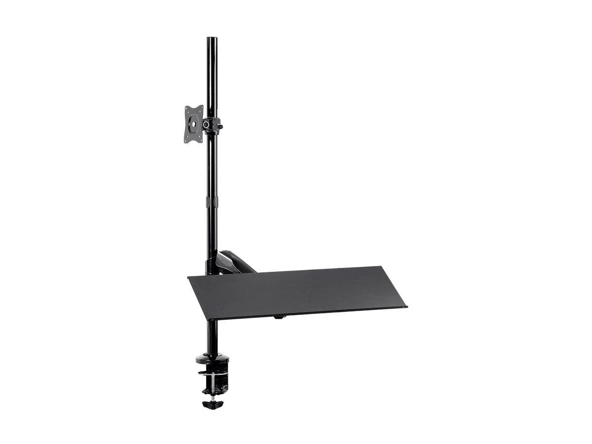 Sit-Stand Monitor and Keyboard Workstation, Height-Adjustable, Supports Most 33cm-71cm (13in-28in) Displays by Monoprice