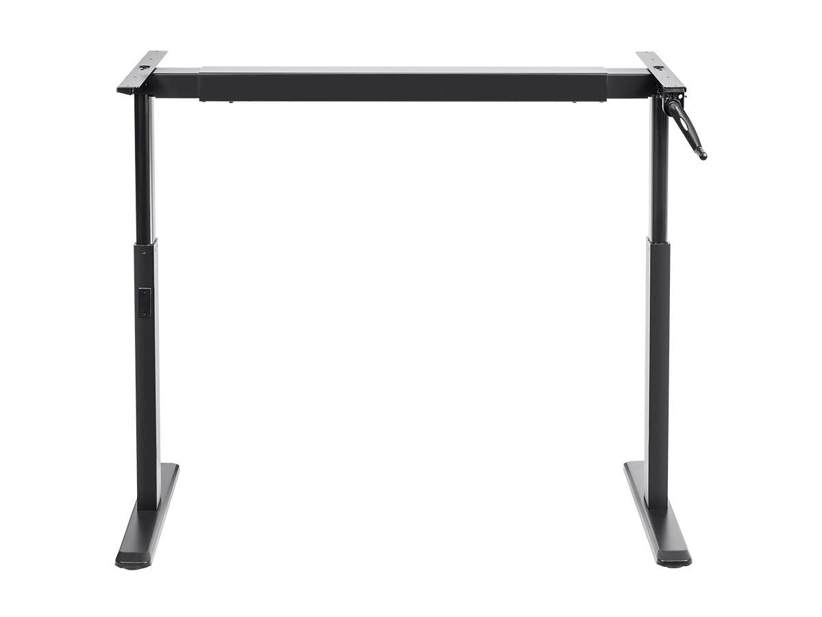 Monoprice Height Adjustable Sit Stand Riser Table Desk Frame - Black With Manual Crank, Compatible With Desktops From 99cm Up To 160cm Wide - Workstream Collection