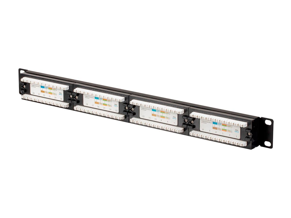 Monoprice Cat6 Unshielded 19-inch 1U Patch Panel, 24-port (UL)