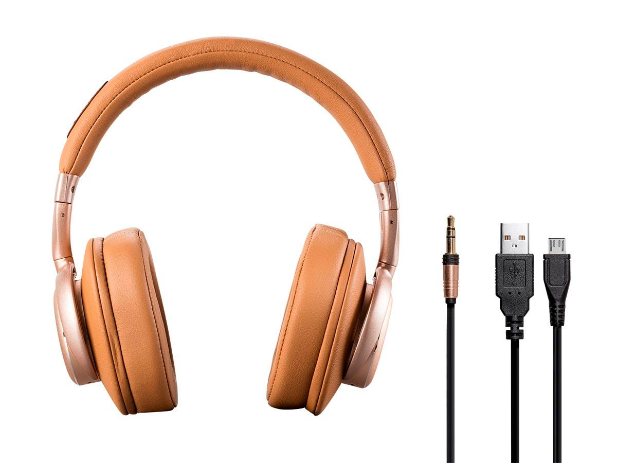 SonicSolace Wireless Headphones - Champagne with Tan Over Ear Headphones | Bluetooth, Active Noise Cancelling by Monoprice