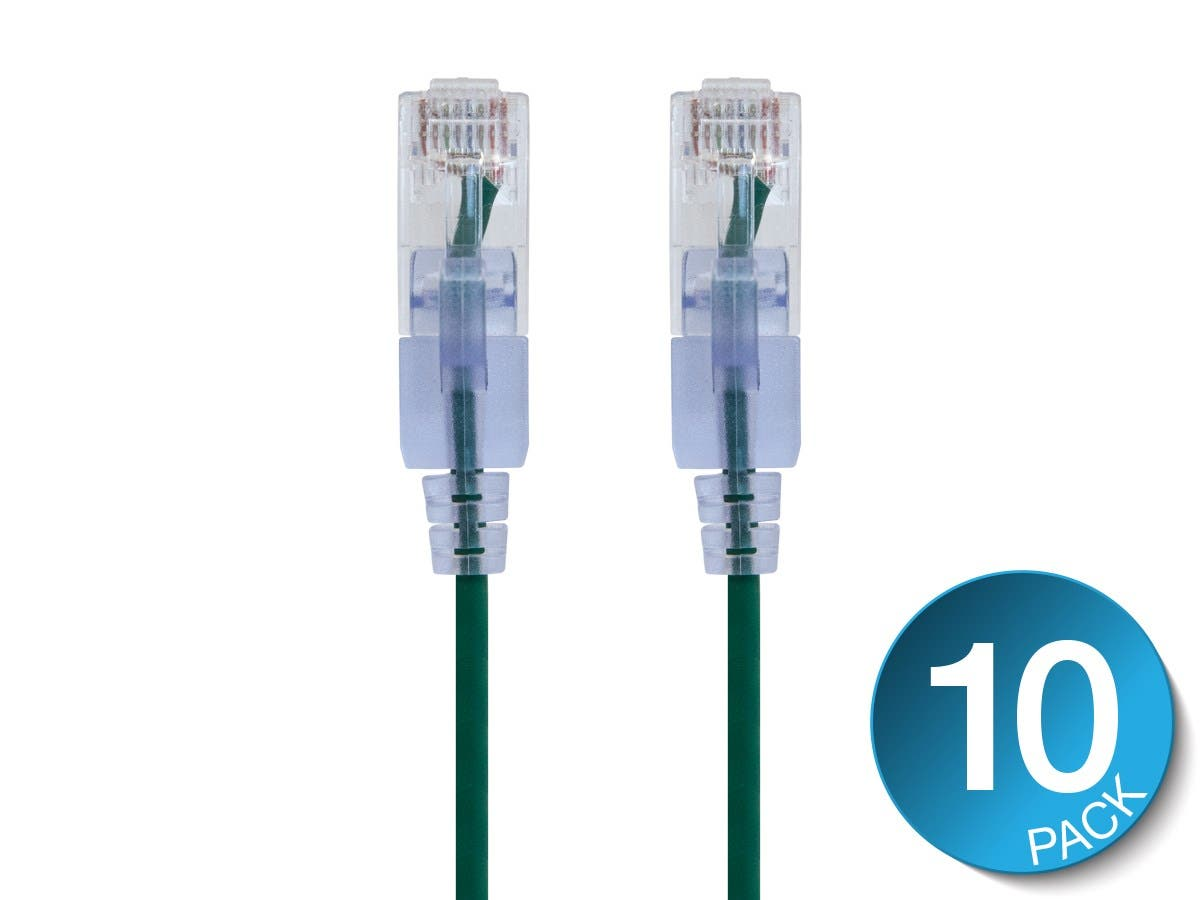 Cat6A Ethernet Patch Cable | Snagless RJ45 | UTP | Pure Bare Copper Wire | 10G | 30AWG | 10-Pack | SlimRun Series