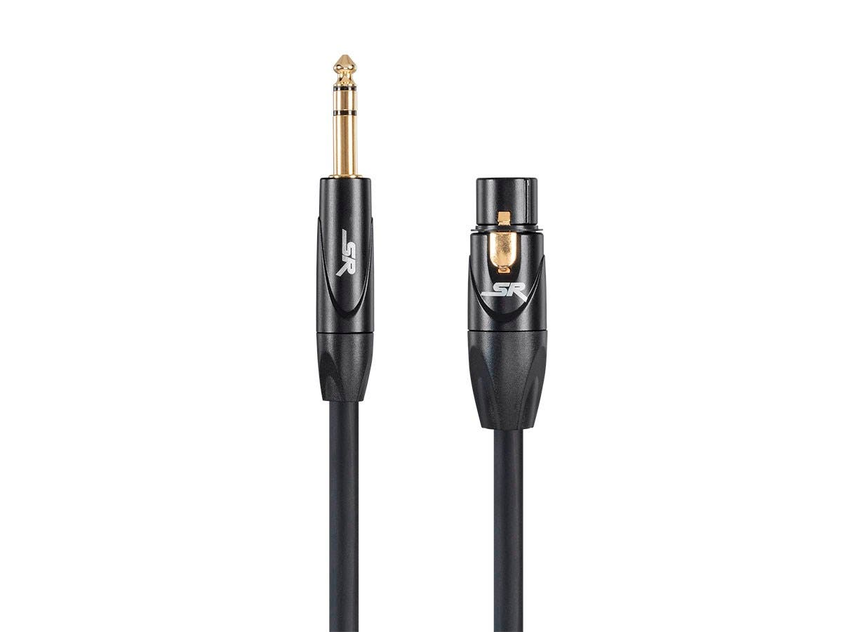 Stage Right 6ft XLR Female to 1/4inch TRS Male 16AWG Cable (Gold Plated) by Monoprice