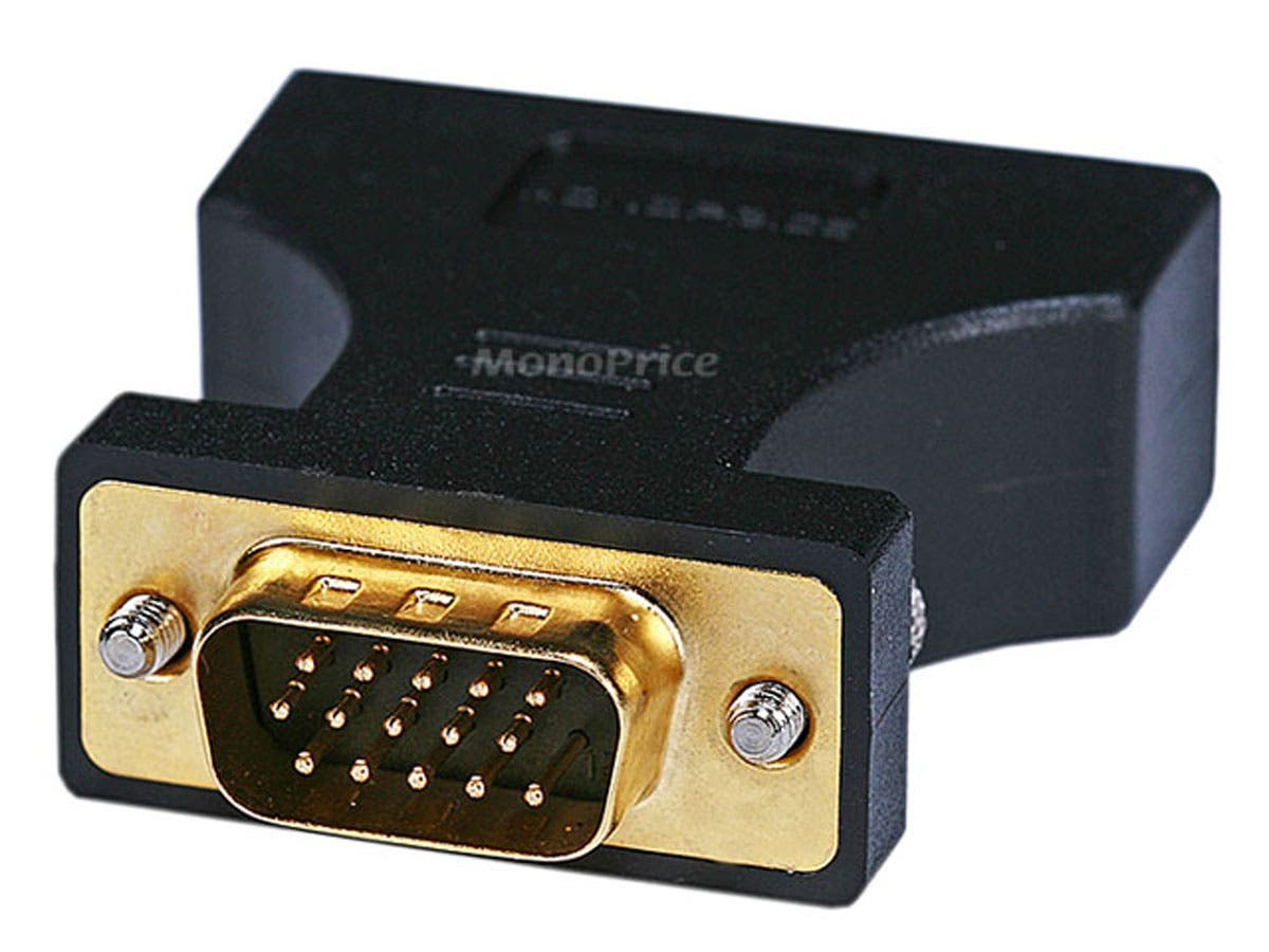 HD15(VGA) Male to DVI-A Female Adapter (Gold Plated Connector) For Use With Analog DVI Monitors by Monoprice