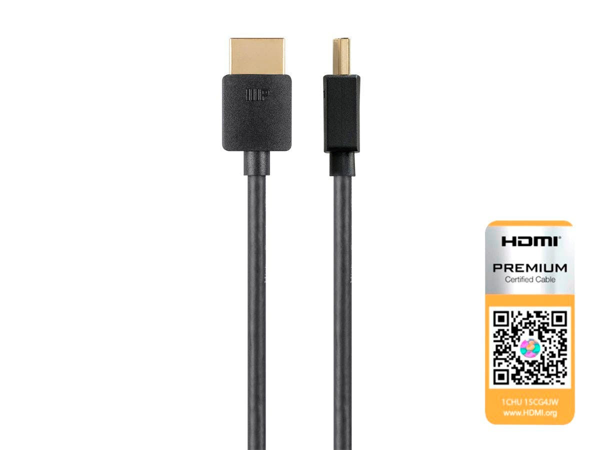 Ultra Slim Certified Premium High Speed HDMI Cable  4K@60Hz  HDR  18Gbps  36AWG  YUV 4:4:4 Black by Monoprice