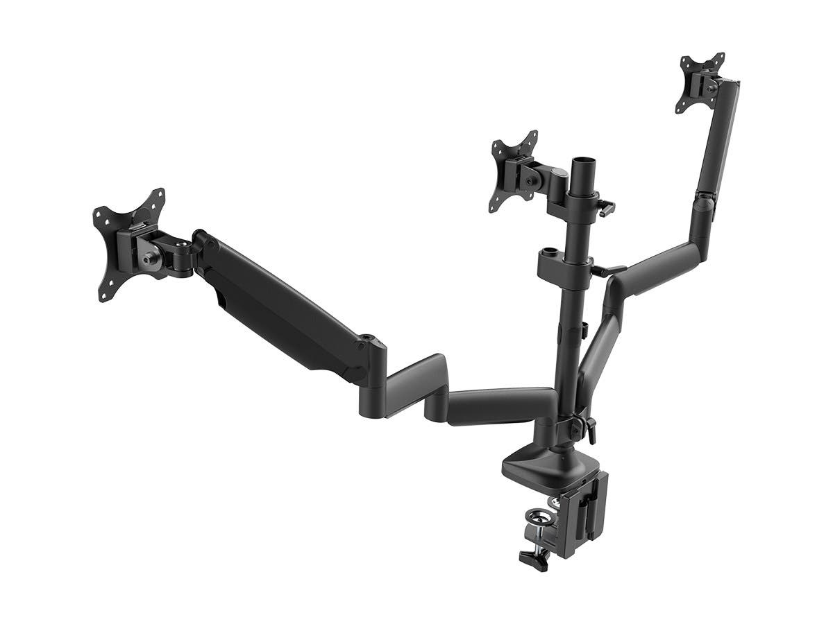 Workstream Triple Monitor Gas Spring Mount for up to 32&34; Screens  Locking Center Mount by Monoprice