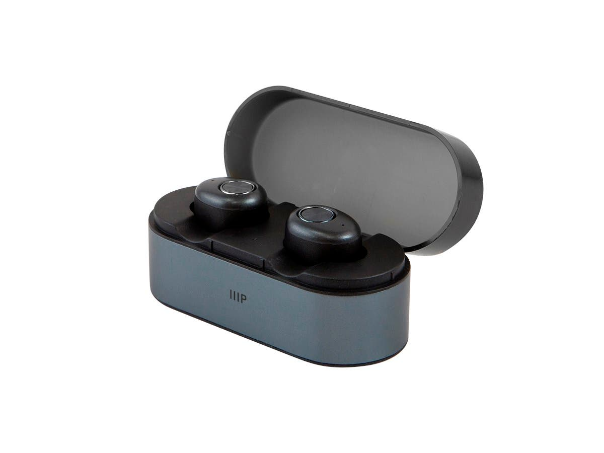 Monoprice TrueWireless Earphones IPX4 Sweatproof, Bluetooth 5, Mic, and Portable Charging Case with Auto On/Off