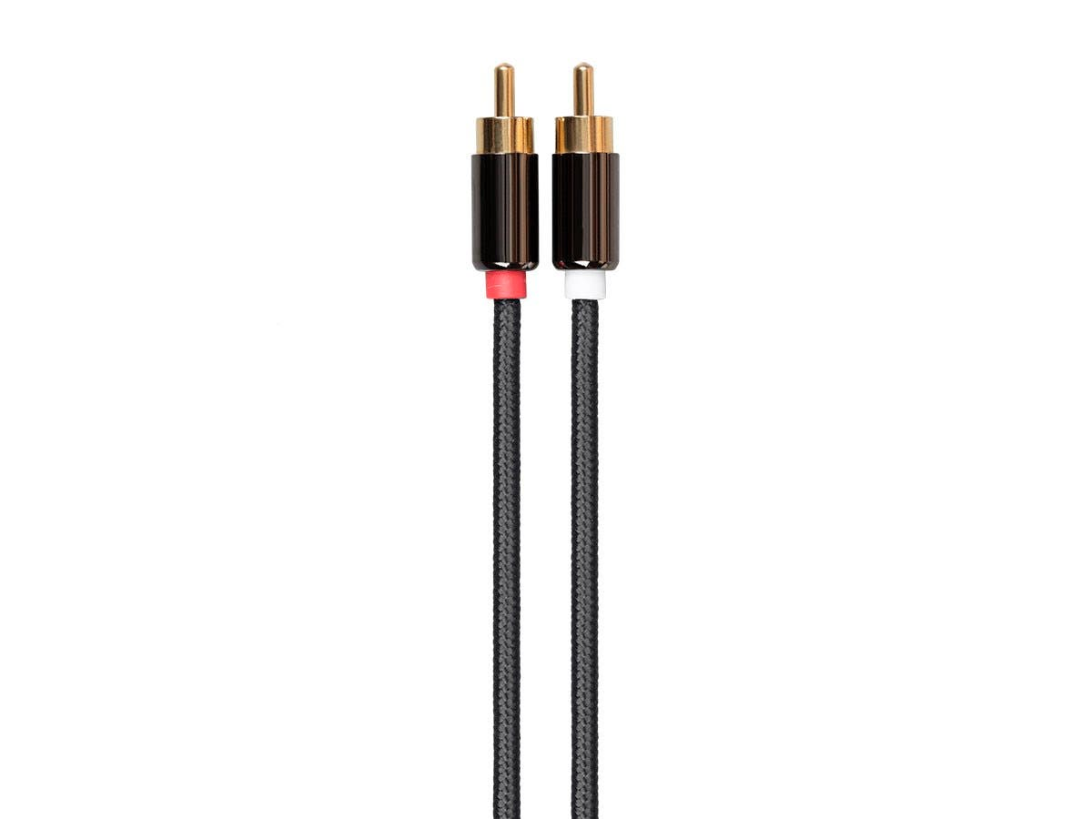 3.5mm Stereo Male to RCA Male Auxiliary Cable - 1.8 m (6 ft) Gold Plated For Headphones, iPods, iPhones, iPads, Home & Car Stereos - Onyx Series by Monoprice