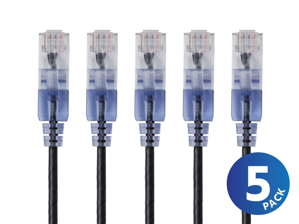 SlimRun Cat6A Ethernet Patch Cable - Snagless RJ45  UTP  Pure Bare Copper Wire  10G  30AWG 5-Pack by Monoprice