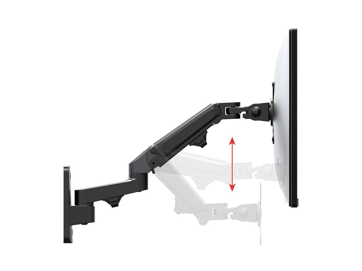 2-Segment Wall Mount For Monitors Up To 68cm | Adjustable Gas Spring - Workstream Collection by Monoprice