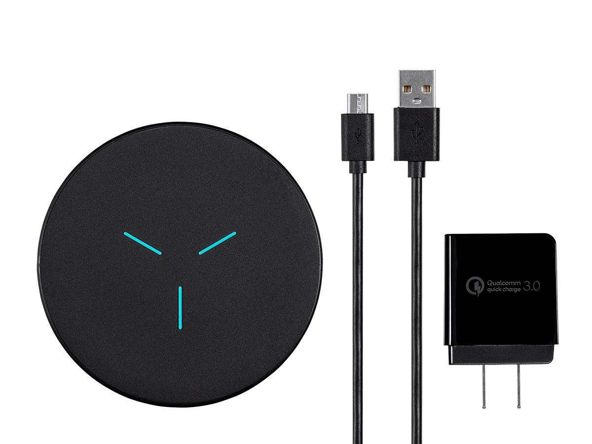 Monoprice Qi Certified Fast Wireless Charging Pad Kit, 7.5W/10W Output, Black