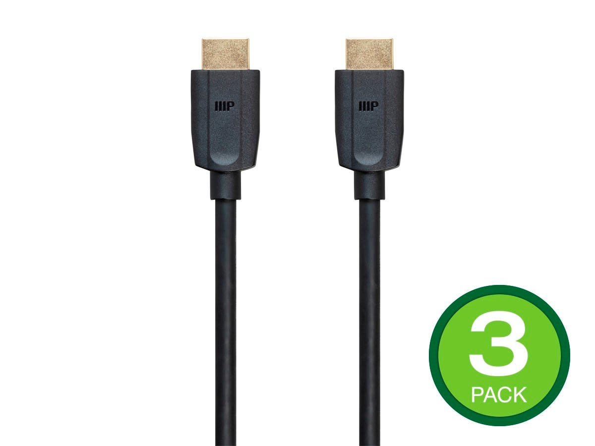 Monoprice DynamicView Ultra 8K Premium High Speed HDMI Cable, 48Gbps, 8K, Dynamic HDR, eARC, 3-pack