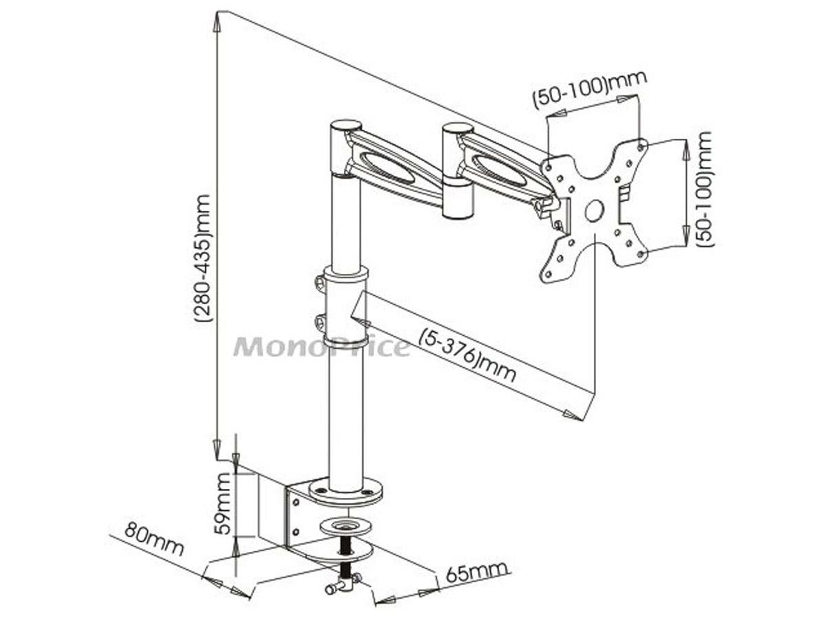 3-Way Adjustable Tilting Desk Mount Bracket for 13-30in Monitors up to 15 kg (33 lbs), Black