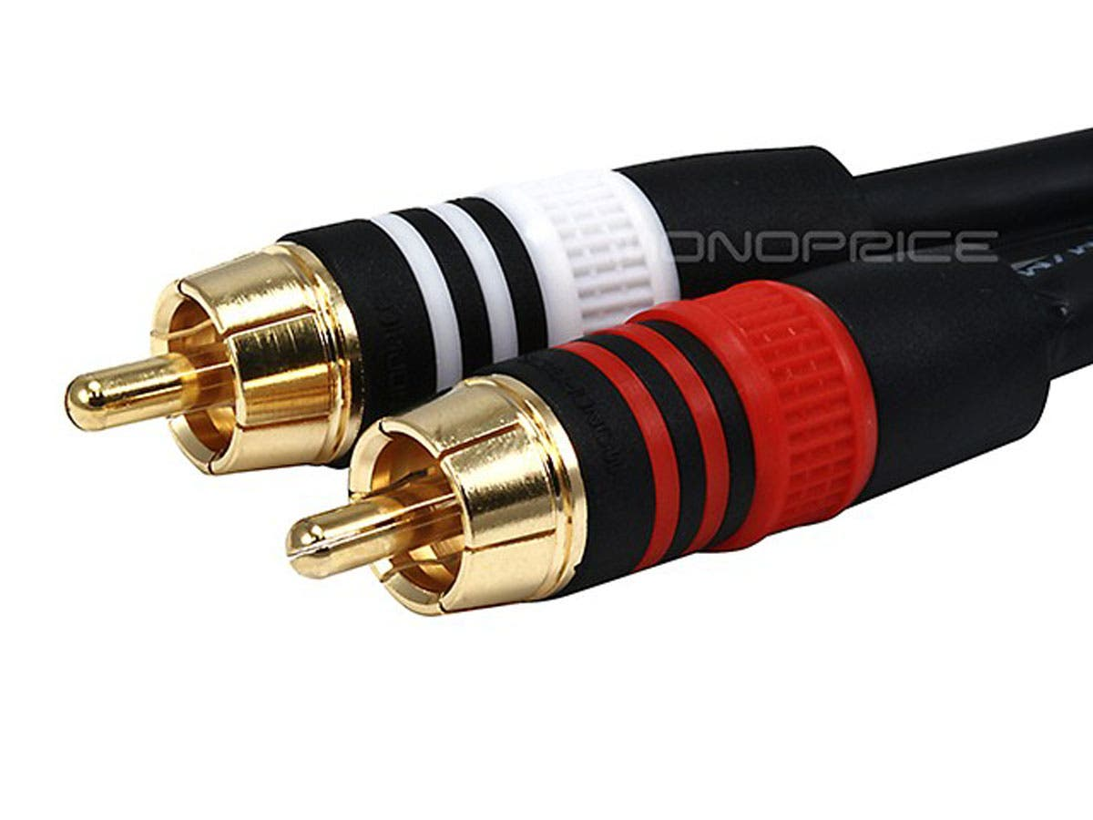Premium 3.5mm Stereo Male to 2RCA Male 22AWG Cable (Gold Plated) - Black by Monoprice