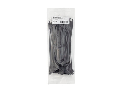 Monoprice Cable Tie 8in 40 lbs  100 pcs/pack  Black Main Image