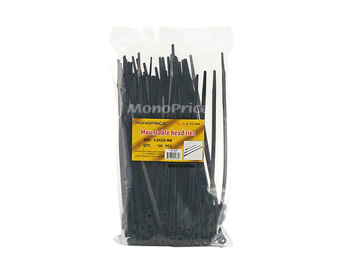 Monoprice Mountable head Cable Tie 8in 40 lbs, 100 pcs/pack, Black