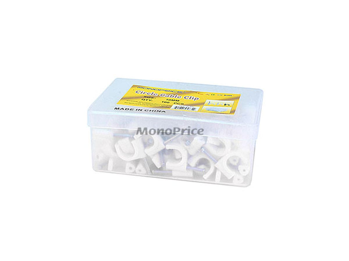Monoprice Circle Cable Clips with Steel Nail, 10mm, 100 pcs/pack