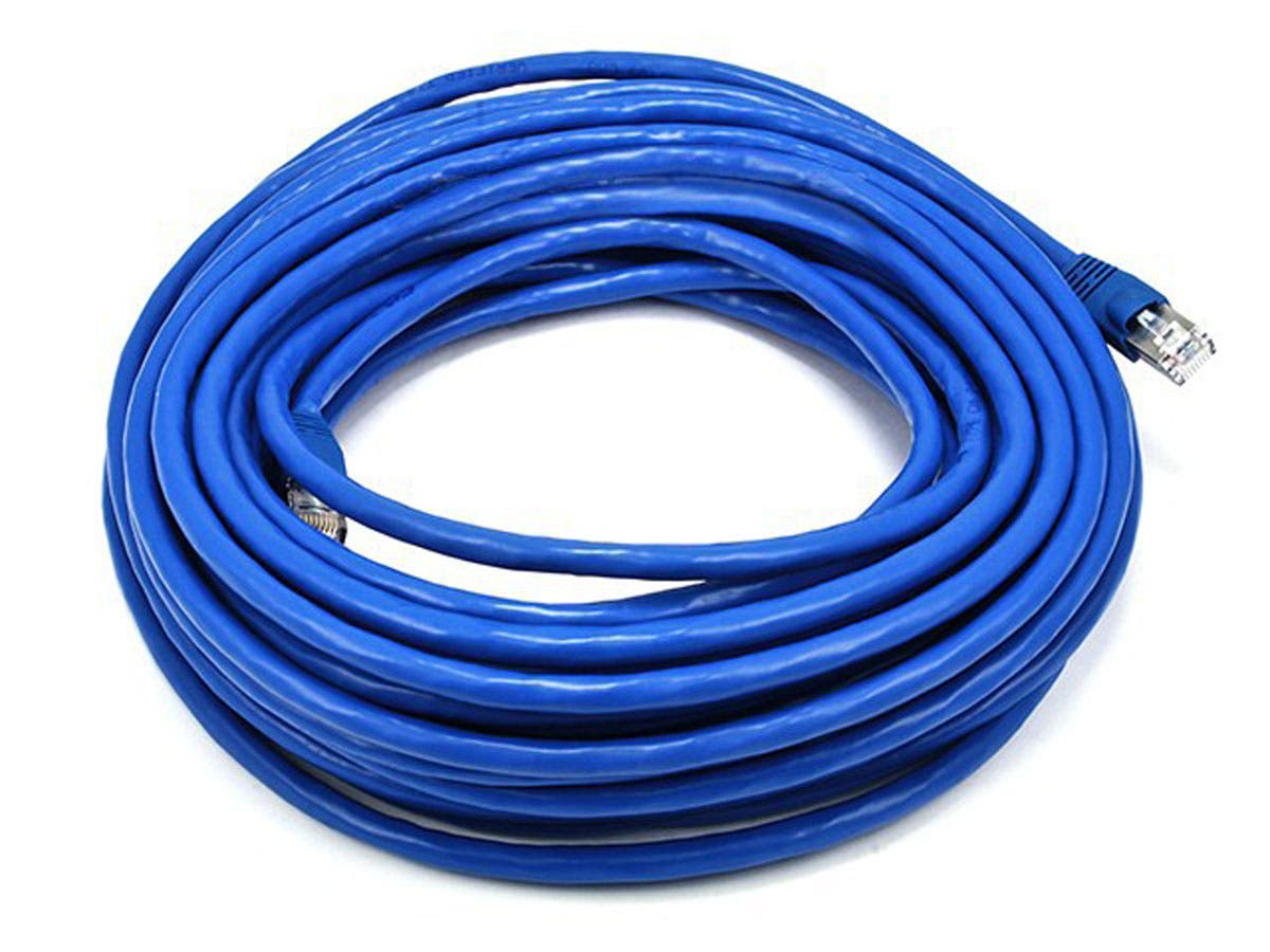 Cat6A Ethernet Patch Cable - Snagless RJ45  Stranded  550Mhz  STP  Pure Bare Copper Wire  10G  26AWG Blue by Monoprice