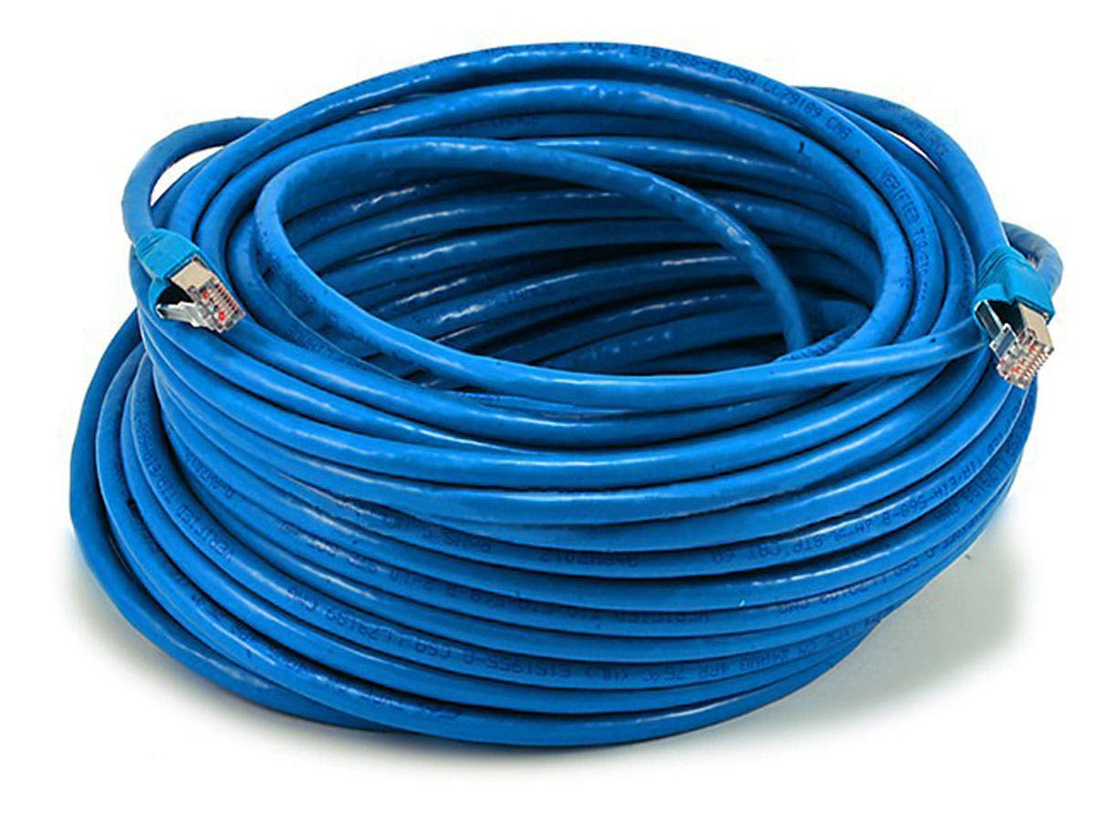 Cat6A Ethernet Patch Cable | Snagless RJ45 | Stranded | 550Mhz | STP | Pure Bare Copper Wire | 10G | 26AWG | Blue