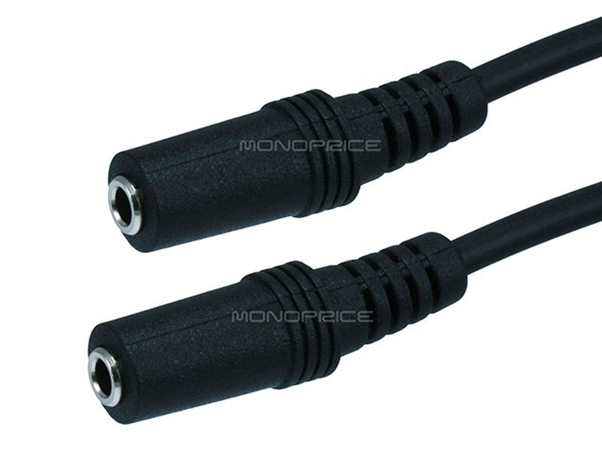 Monoprice 6in 3.5mm Stereo Plug to Two 3.5mm Stereo Jack Splitter Cable