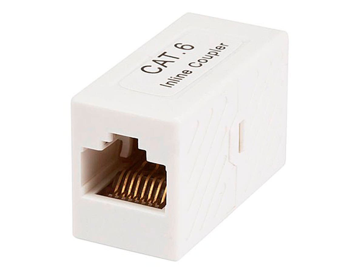 8P8C RJ45 Cat6 Inline Coupler - White, For Linking Two CAT6 Ethernet Cable by Monoprice