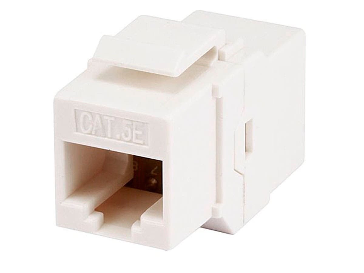 8P8C RJ45 Cat5e Inline Coupler Type Keystone Jack - White, Fits All Standard Keystone Wall Plates And Panels by Monoprice