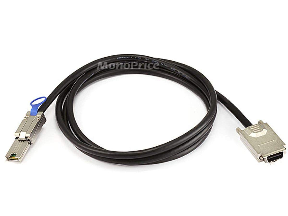 Monoprice 28AWG External SAS 34pin (SFF-8470) Male w/ Thumbscrews to Mini SAS 26pin (SFF-8088) Male Cable - Black