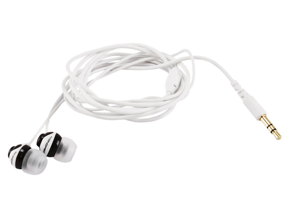 Button Design Noise Isolating Earbuds Headphones - Black & White by Monoprice