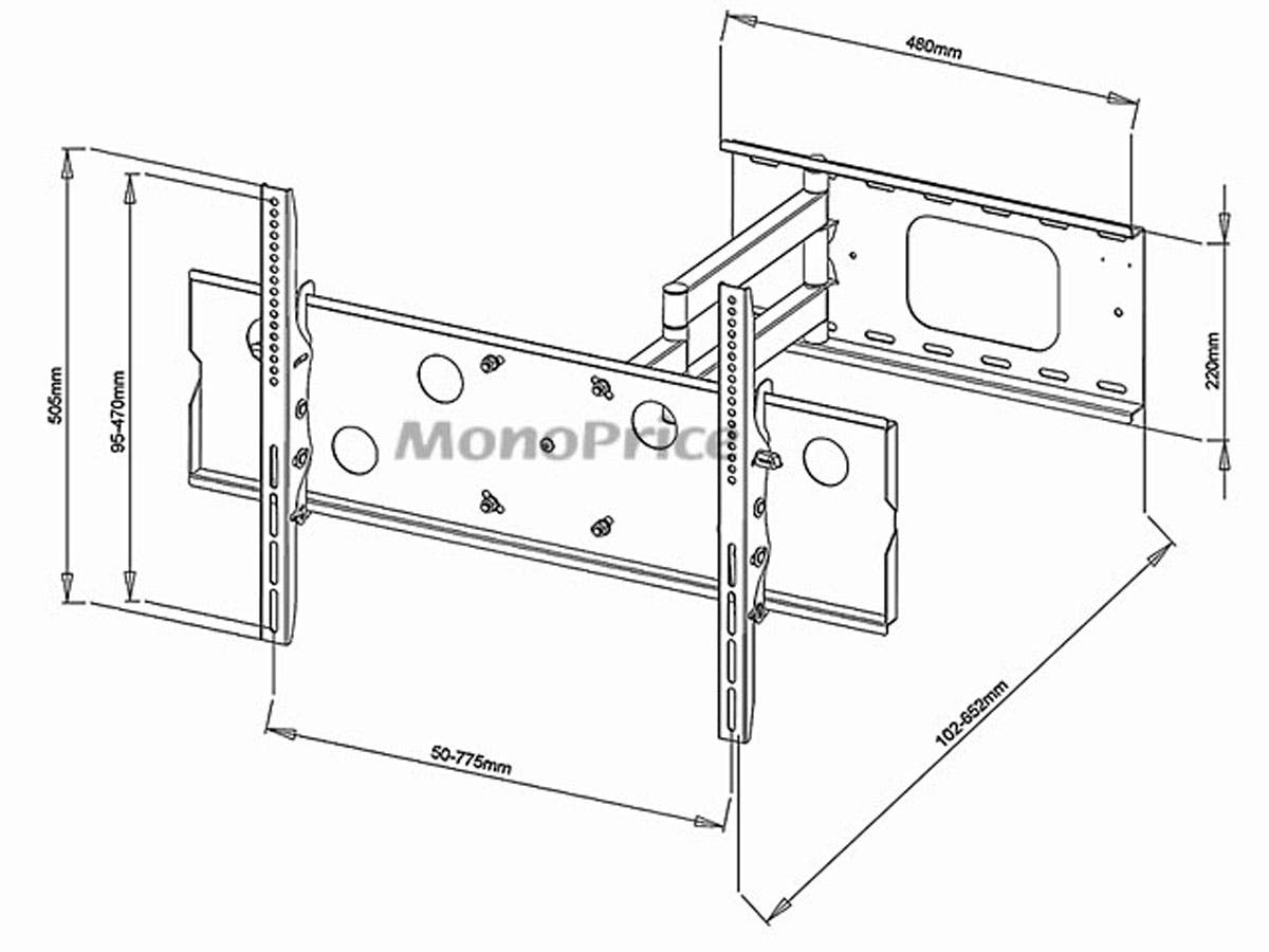 Monoprice Commercial Series Corner Friendly Full-Motion Articulating TV Wall Mount Bracket - TVs 32in to 60in, Max Weight 125lbs, Extends from 5.0in to 26.5in, VESA Up to 770x480, Concrete & Brick