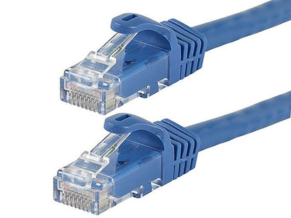 Flexboot Cat6 Ethernet Patch Cable - Snagless RJ45  Stranded  550MHz  UTP  Pure Bare Copper Wire  24AWG Blue by Monoprice