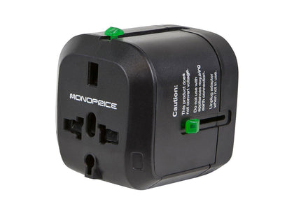 Monoprice Compact Cube Universal Travel Adapter - Black, Compatible With NEMA 1-15 (US), CEE 7/16 Europlug (EU), BS 1363 (UK), AS/NZS 3112 (Australia, New Zealand, China)  Main Image