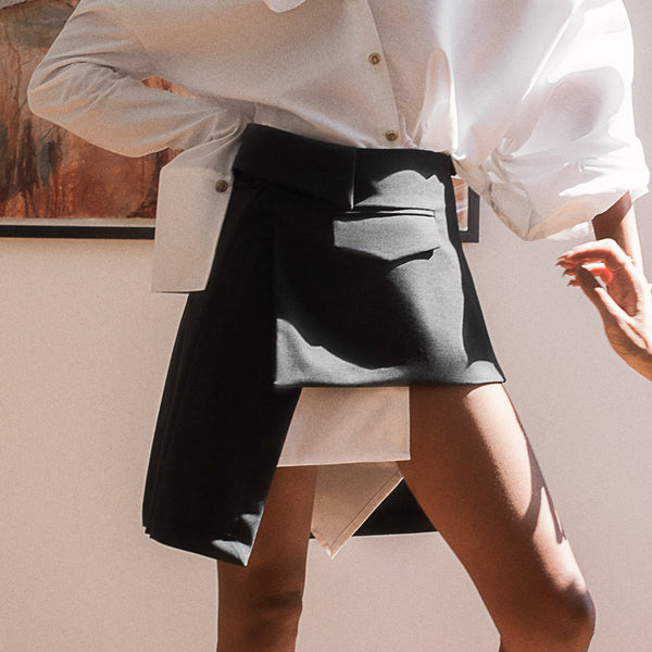 <b>N°4</b> <p><b>charcoal deconstructed wrap mini skirt</b> <p>