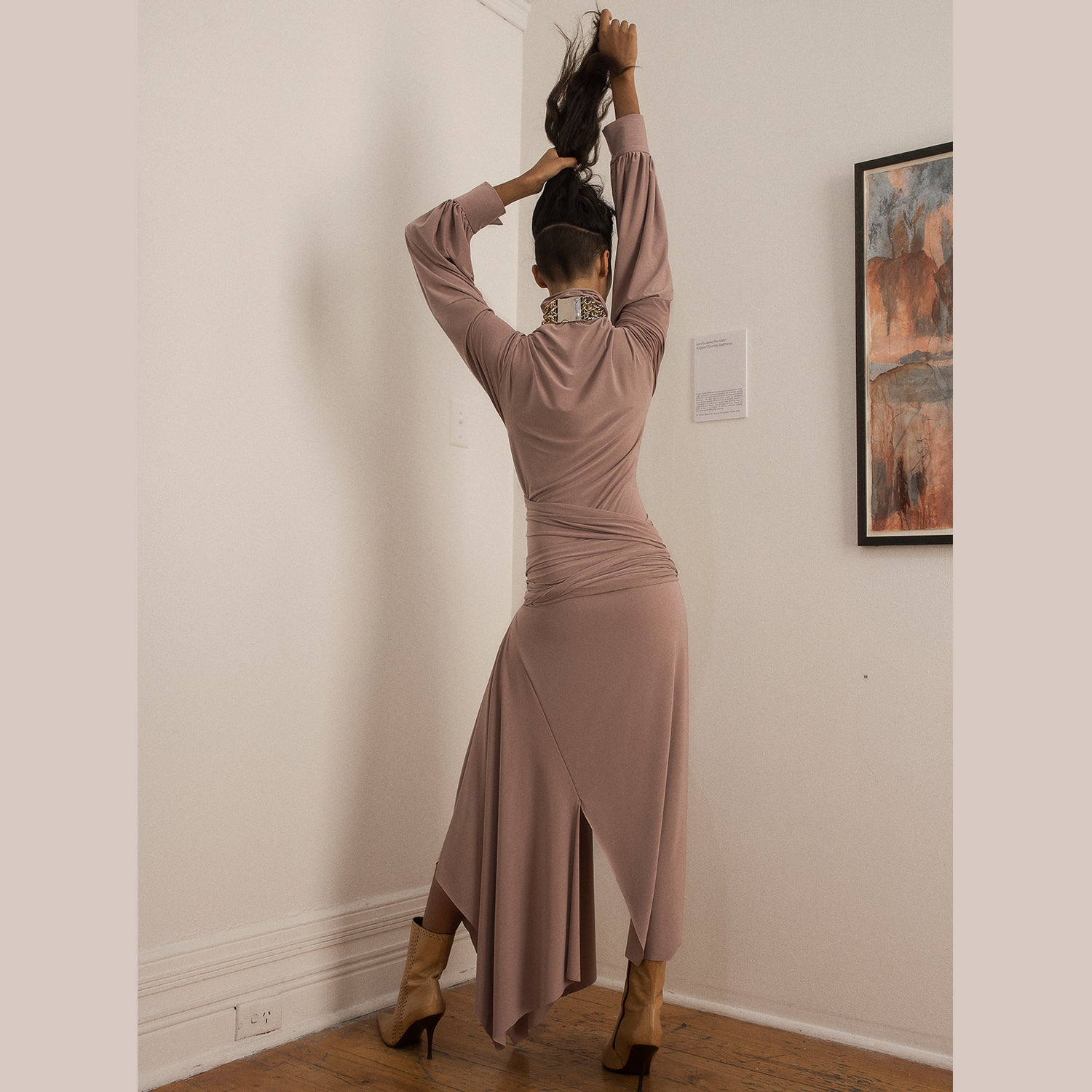<b>N°4</b> <p><b>mink asymmetric wrap waist dress</b> <p>