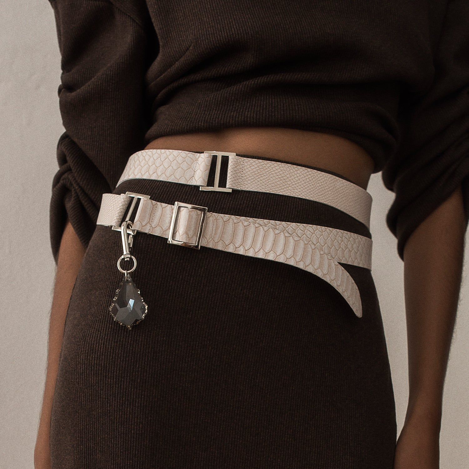 <b>N°4</b> <p><b>ivory anaconda embossed leather wrap belt</b> <p>