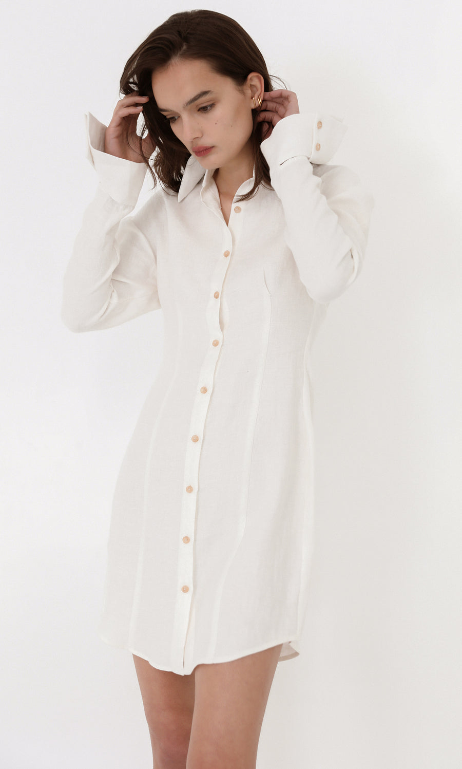 Linen Blend Mini Shirt Dress with Angled Cuff <p>D23-MSCA