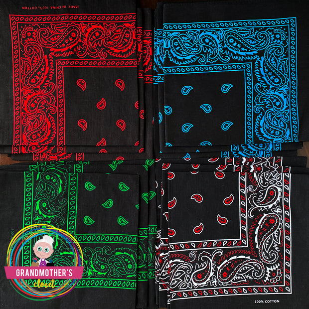 Set of 12 Paisley Bandanas  $42 PROMO FREE SHIPPING