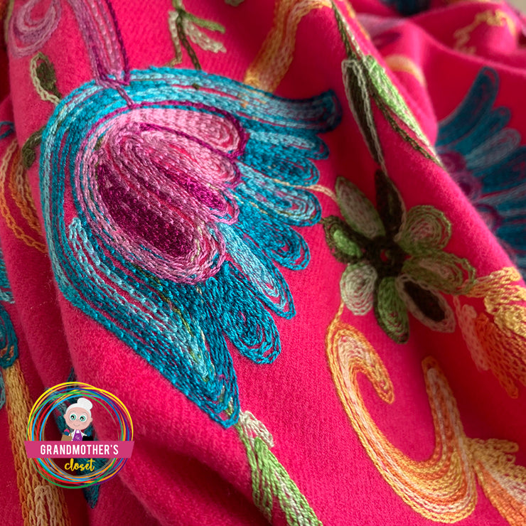 Embroidered Blossom Shawl - $42 PROMO FREE SHIPPING