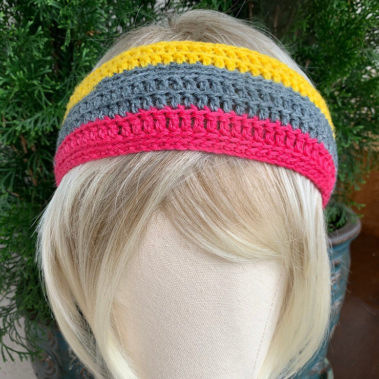 100% Up-Cycled Canadian Handmade Artisan Knit Headbands - Retro Striped Collection