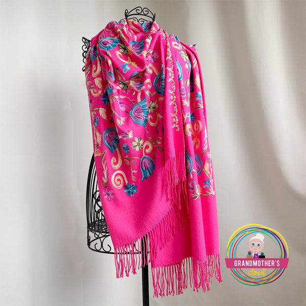 Embroidered Blossom Shawl - $38 PROMO FREE SHIPPING
