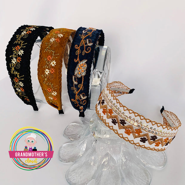 Sweet Embroidered Headbands - Fall Collection -  $19.95 or GET THE SET OF 4 for $56.00 & FREE SHIPPING