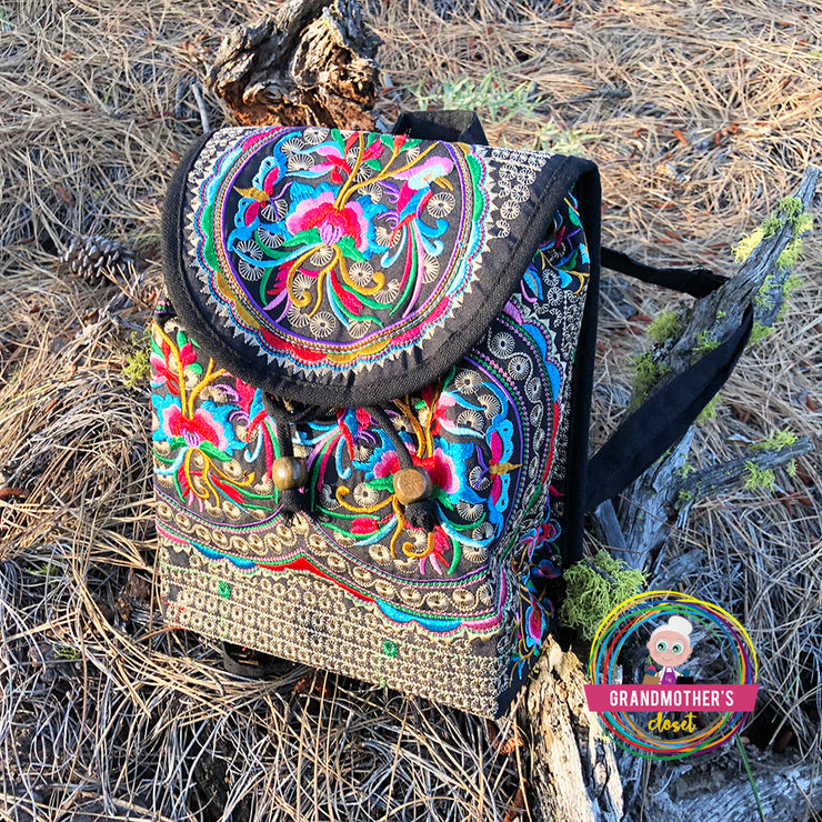 Embroidered Petite Retro Backpack Purse - $38 PROMO FREE SHIPPING