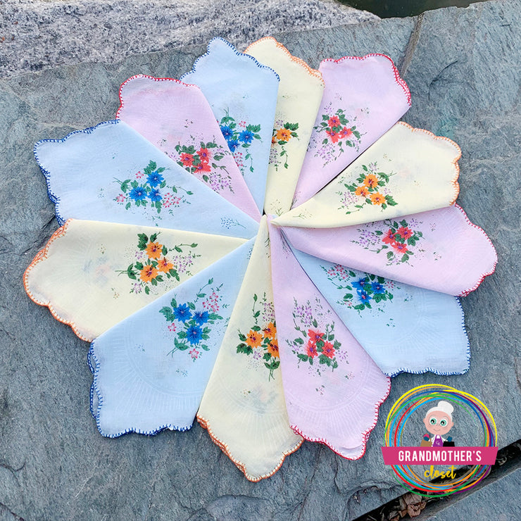 Set of 12 - 100% Cotton Flower Print Handkerchiefs - $18 PROMO FREE SHIPPING
