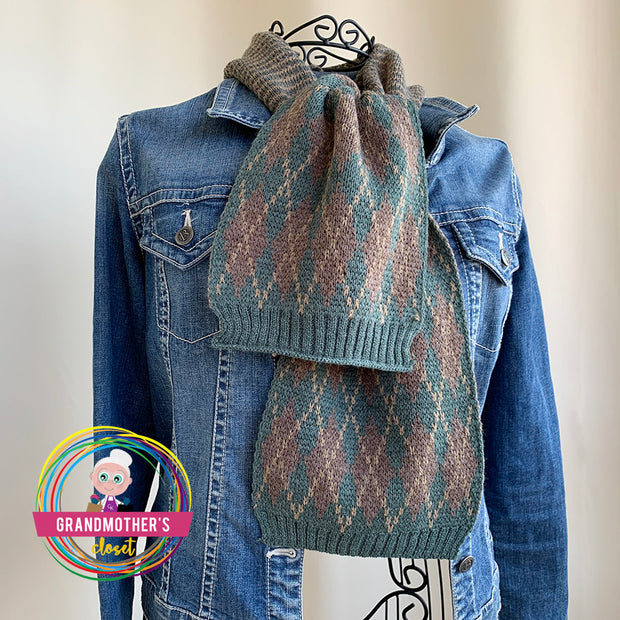Argyle Knitted Scarf - $24 PROMO FREE SHIPPING