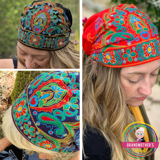 Embroidered Bandana Caps - SET OF 4 ON SALE - $68.00