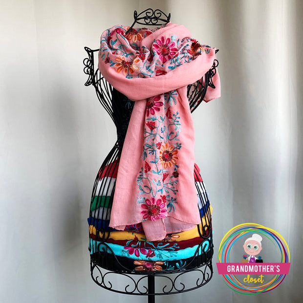 50% OFF Light Embroidered Scarves - $28 PROMO FREE SHIPPING