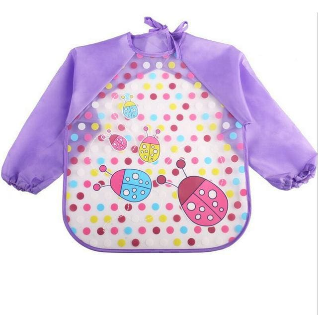 Art & Mealtime Pinny - Purple Lady Bugs