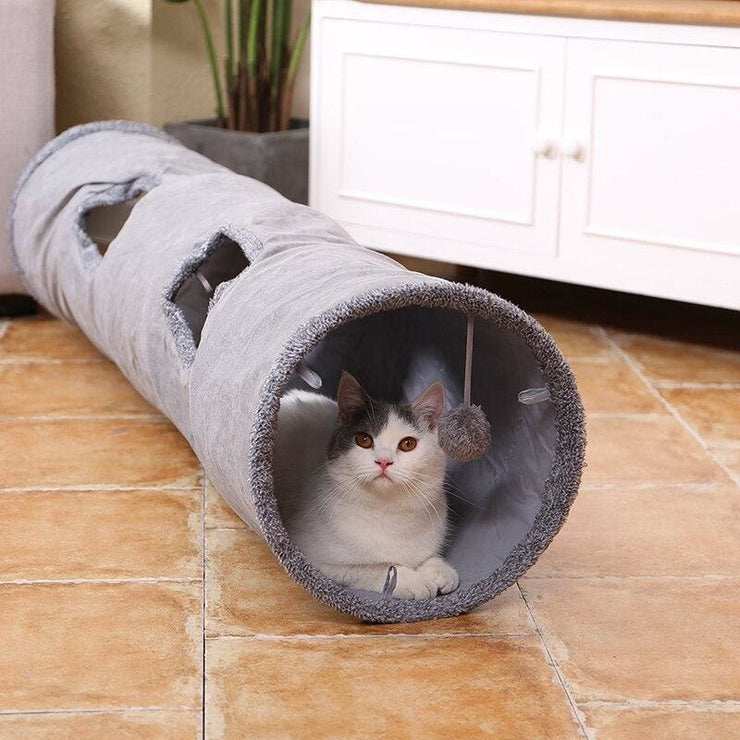 Best Ever Cat Tunnel - Gray / Two Holes