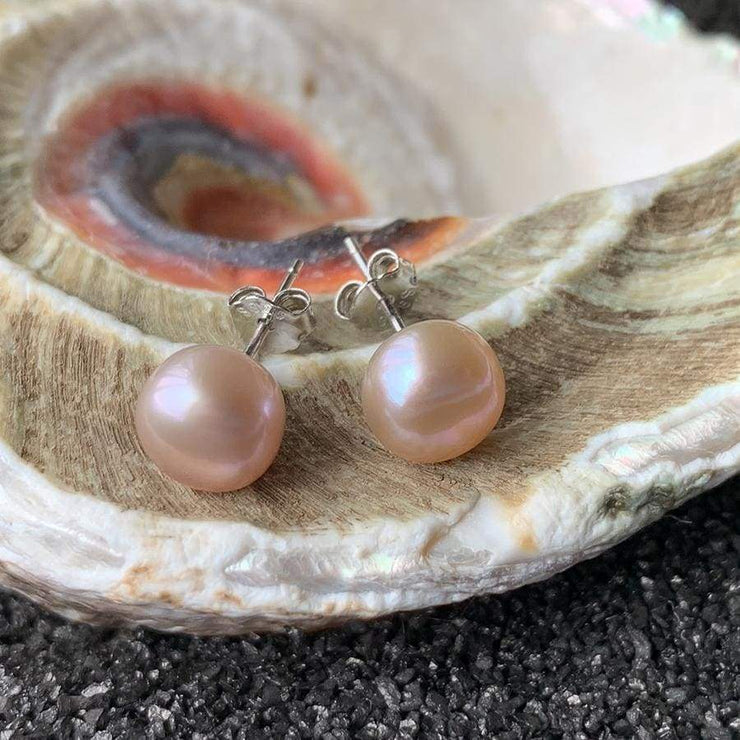 Natural Freshwater Pearl Earrings - PROMO FREE SHIPPING - 7mm Lavender