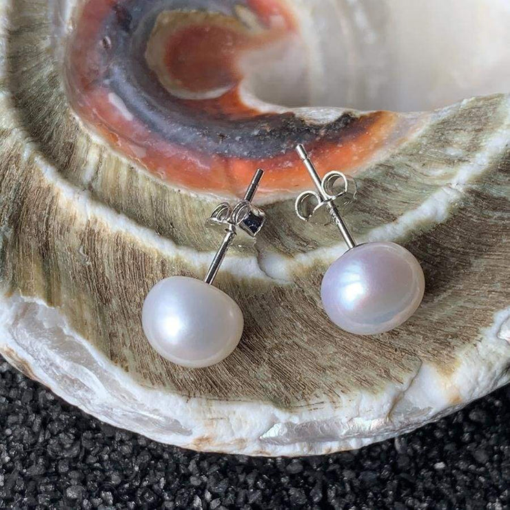 Natural Freshwater Pearl Earrings - PROMO FREE SHIPPING - 7mm white